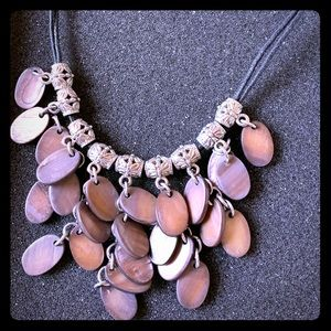 Necklace with brown and black shells